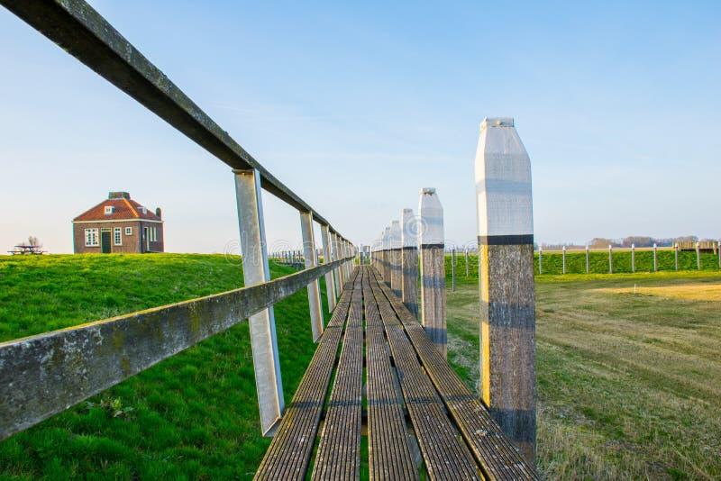 Jetée du port Schokland, l'ancienne île Les Pays-Bas image stock