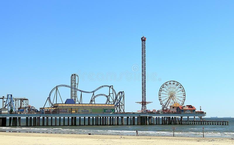Jetée historique de plaisir d'île de Galveston sur la côte du Golfe du Mexique dans le Texas image stock