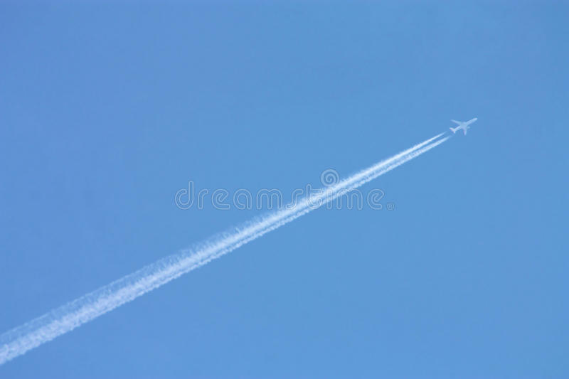 Download Jet stock photo. Image of contrails, time, just, blue - 17579060