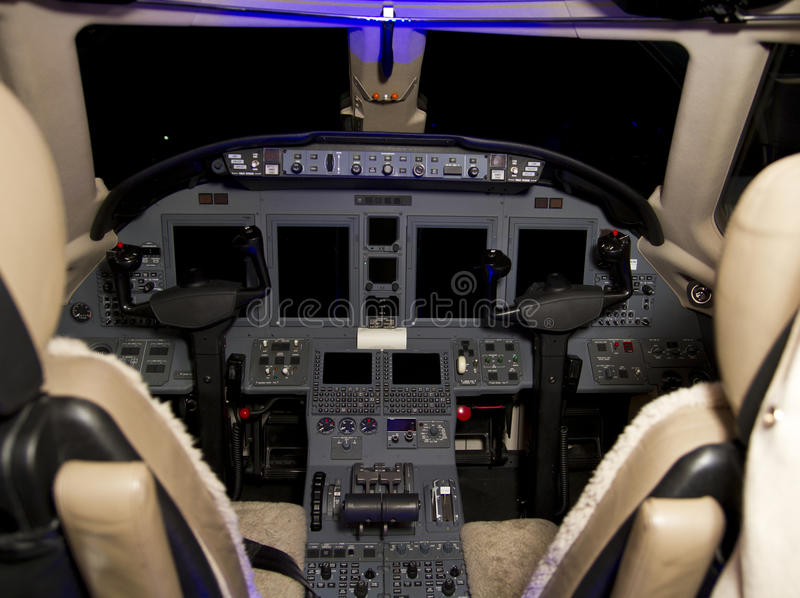 Jet Aircraft Cockpit privée images stock