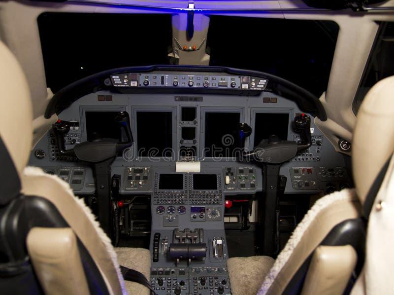 Jet Aircraft Cockpit privada imagenes de archivo