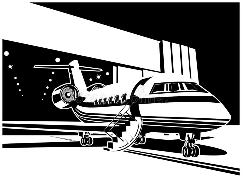 Jet aircraft near the hangar. Stylized vector illustration on the theme of civil aviation. Airplane near the hangar stock illustration