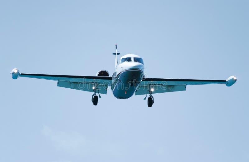 Jet airliner in flight ready for landing stock image