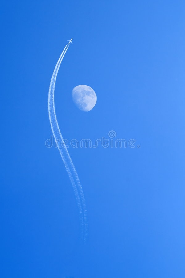 Jet airplane & Moon stock images