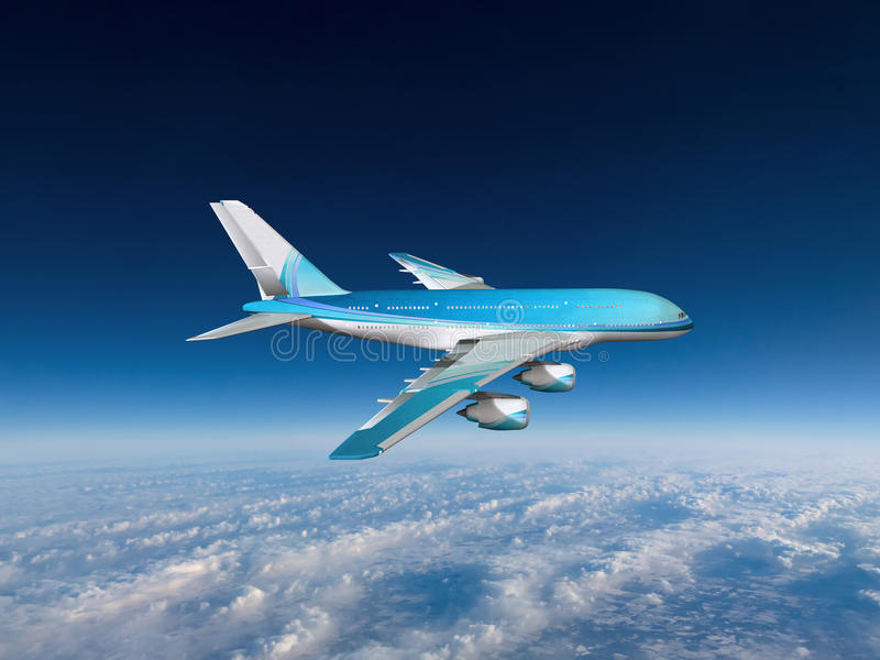 Jet Airplane Travel Sky Clouds royalty free stock photos