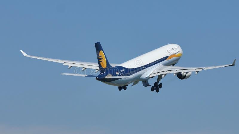Jet Airways a décollé de l'aéroport d'Amsterdam, l'AMS photo stock