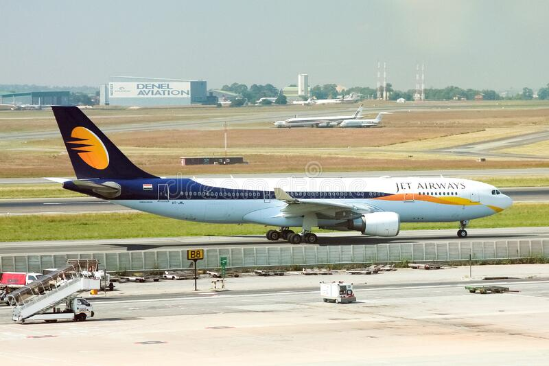 Jet Airways Indian commercial passenger airliner moving down the runway to take off. Johannesburg, South Africa - April 14, 2010: Jet Airways Indian commercial stock photography