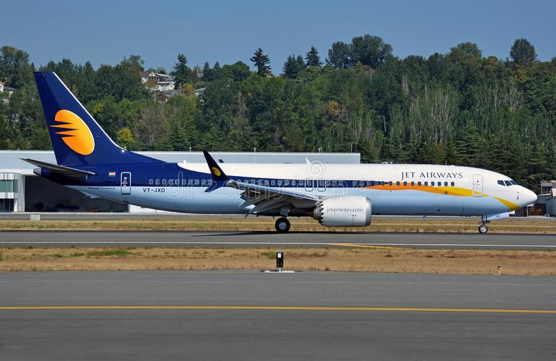 Jet Airways new 737-8 MAX coming to a stop after landing stock images