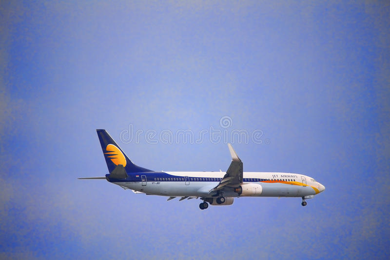 Jet Airways Plane Fly on the sky stock photography