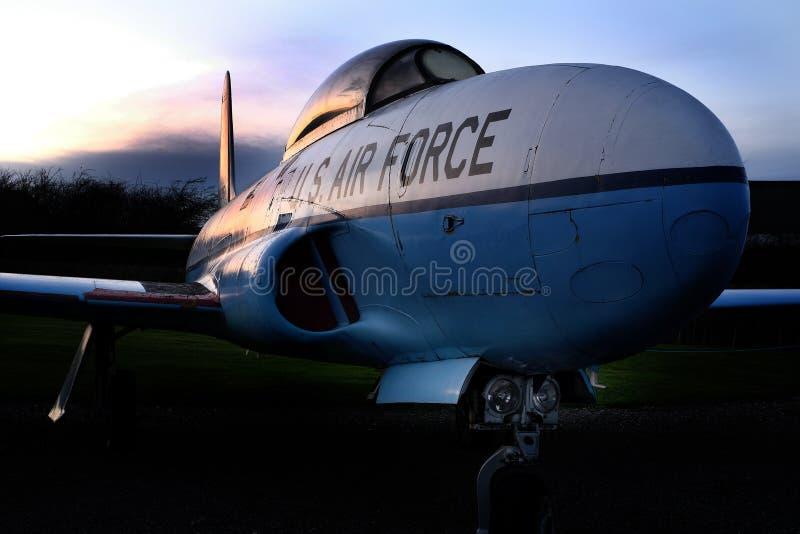 Jet americano del vintage, estrella fugaz de Lockheed T33A imagenes de archivo
