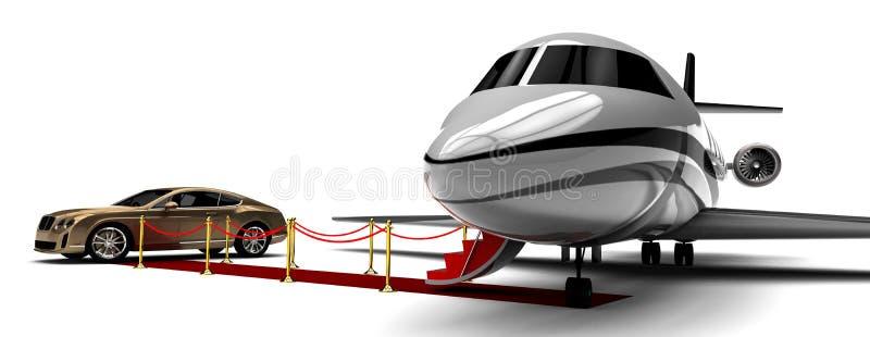 Jet-avion privé et limousine de tapis rouge illustration libre de droits
