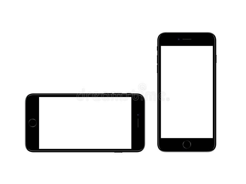 jet black apple iphone smartphone 7 plus mockup template stock photo image of horizontal. Black Bedroom Furniture Sets. Home Design Ideas