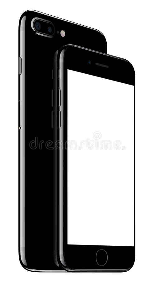 Jet Black iPhone 7 Plus and iPhone 7 on white royalty free illustration