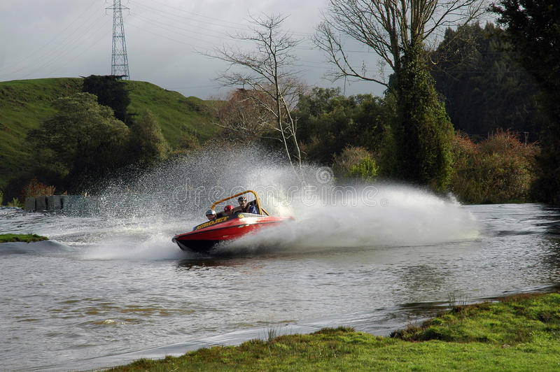 Jet Boat. Jet boat racing in NewZealand at Agroventure 10 km out of Rotorua. A prefessional jet boat driver will for a cost, take two people at a time on a one royalty free stock images