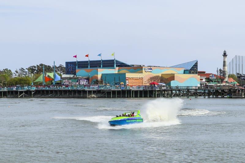 Jet Boat Ride em Broadway na praia em Myrtle Beach, SC fotos de stock