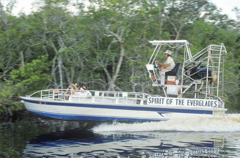 A jet boat tours the Everglades in the Everglades National Park, Florida stock photo