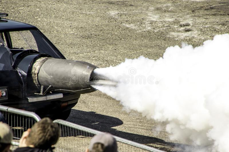 Jet Car. An incredible vehicle used for entertainment at motor shows, this is a jet car with an immense amount of horsepower royalty free stock photography