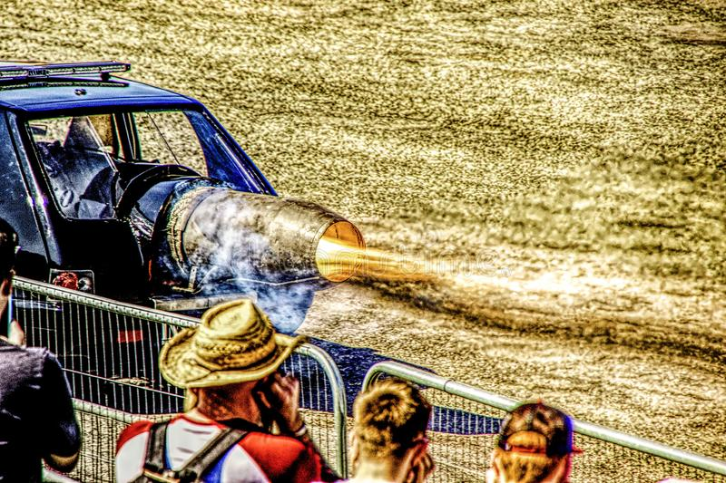 Jet Car. An incredible vehicle used for entertainment at motor shows, this is a jet car with an immense amount of horsepower royalty free stock image