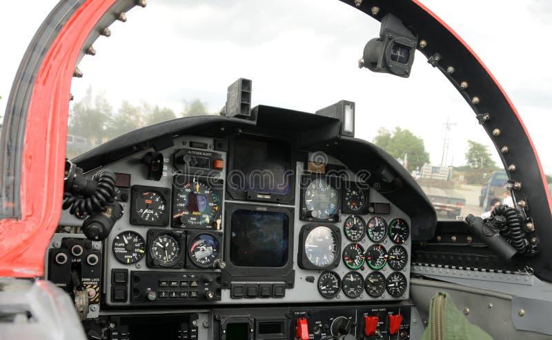 Jet cockpit. US jetfighter cockpit control board stock images