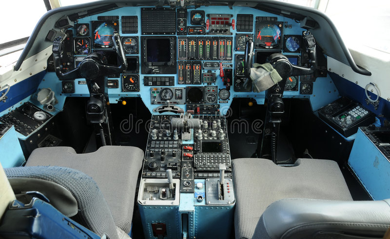 Jet cockpit. Modern jet airplane cockpit control view stock photo