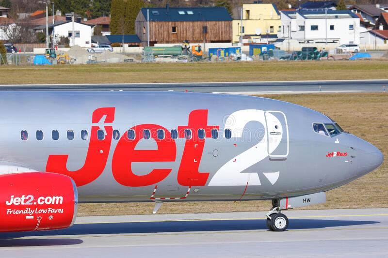 Jet2.com Airlines close-up view royalty free stock images