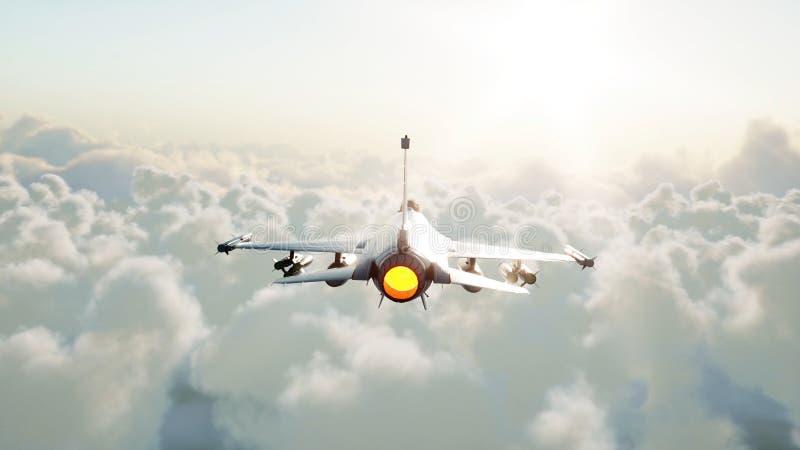 Jet, combatiente que vuela sobre las nubes Concepto de la guerra y del arma representación 3d libre illustration
