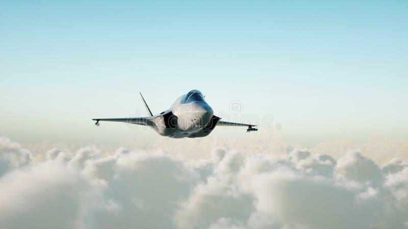 Jet, combatiente que vuela sobre las nubes Concepto de la guerra y del arma representación 3d ilustración del vector