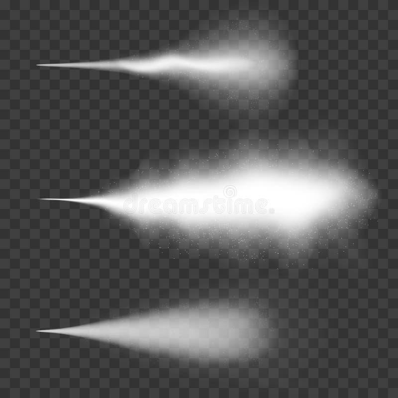 Jet d'eau, brume et effet de fumée Effet blanc de jet avec la poussière sur le fond transparent illustration libre de droits