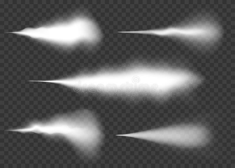 Jet d'eau, brume et ensemble d'effet de fumée Effet blanc de jet avec la poussière sur le fond transparent illustration de vecteur