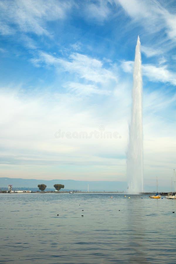 The Jet d eau at Lake Leman in Geneva, Switzerland stock photo