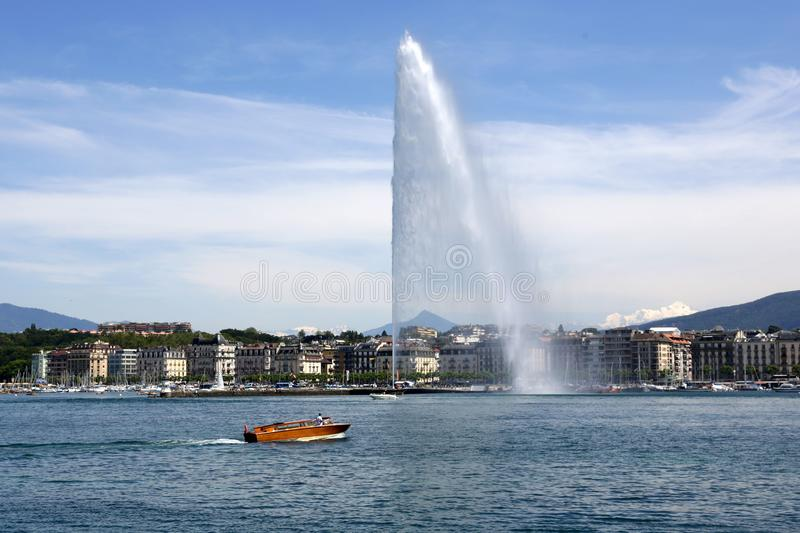 The Jet d`Eau Water-Jet in Geneva, Switzerland royalty free stock images