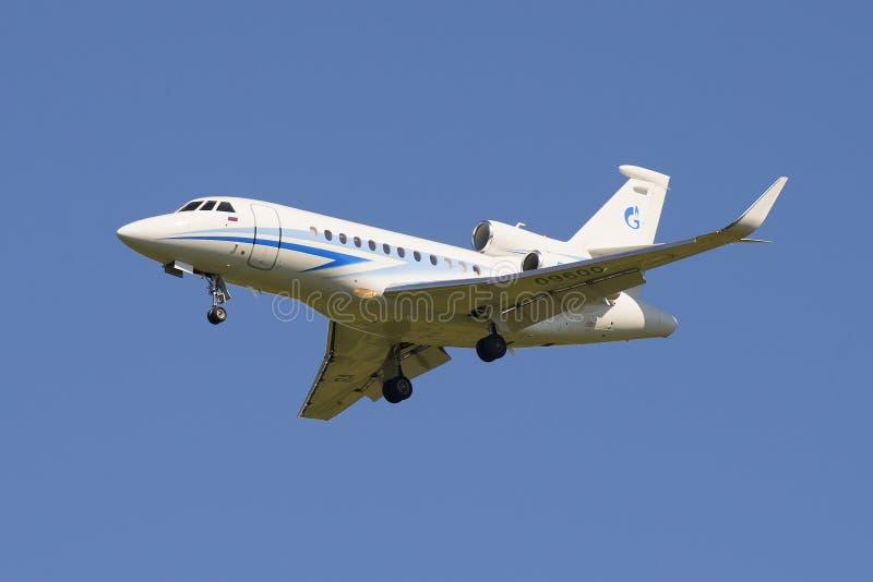 Jet Dassault Falcon 900 EX (RA-09600) of the company Gazpromavia in flight stock images