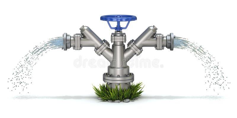 Jet de bouche d'incendie et d'eau d'irrigation illustration stock