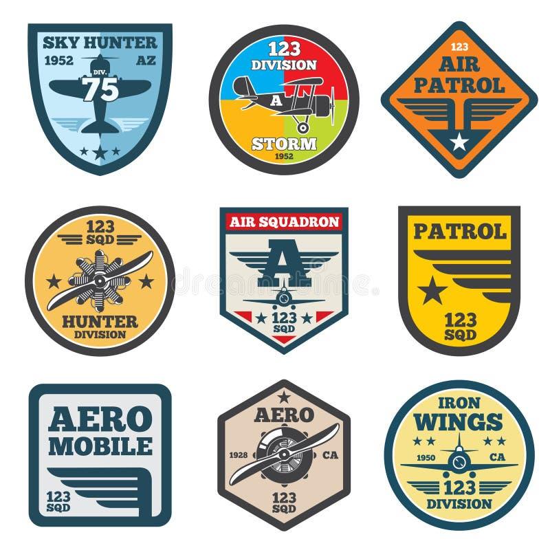 Jet del ejército, aviación, etiquetas del vector de la fuerza aérea, insignias del remiendo, emblemas y logotipos fijados ilustración del vector