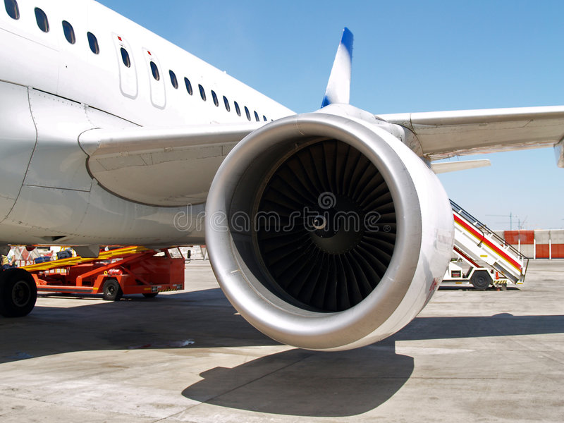 Jet engine at aircraft royalty free stock photography