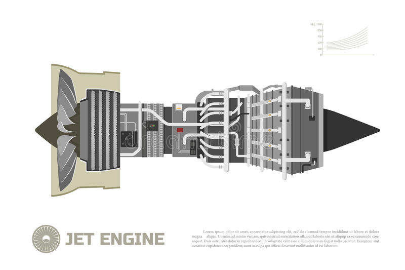 Jet engine of aircraft. Part of the airplane. Side view. Aerospase industrial drawing royalty free illustration