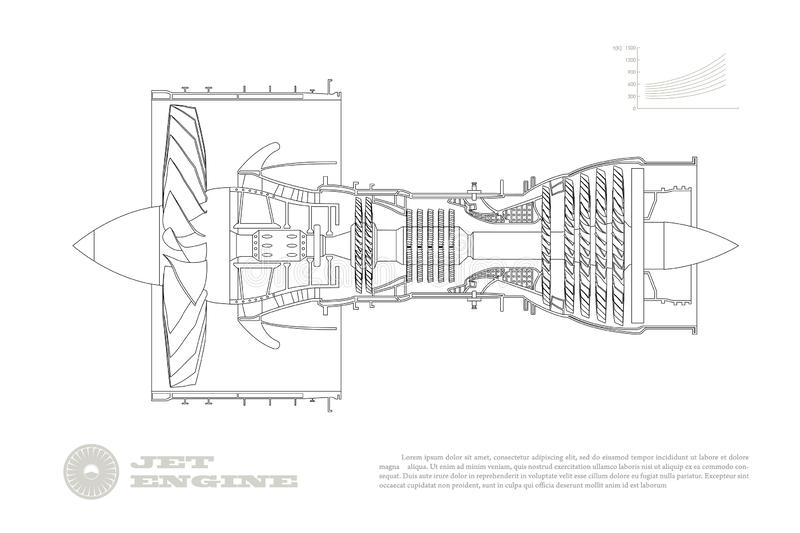 Jet engine of airplane in outline style. Industrial aerospase blueprint. Drawing of plane motor. Part of aircraft vector illustration