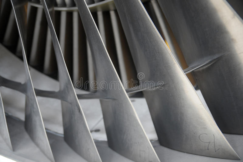 Jet engine blades. Aircraft jet engine blades clouse-up royalty free stock photos