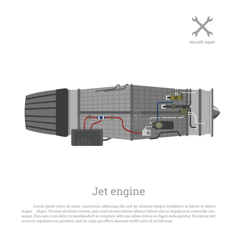 Jet engine in a flat style. Part of the aircraft. Side view. Vector illustration vector illustration