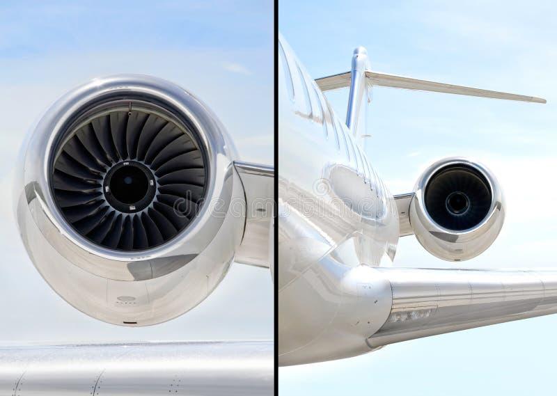 Jet Engine på lyxigt privat flygplan - Bombardier arkivfoto