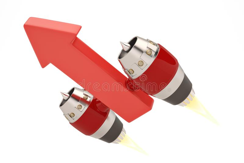 Jet engine on red arrows growing concept.3D illustration. Jet engine on red arrows growing concept. 3D illustration stock illustration
