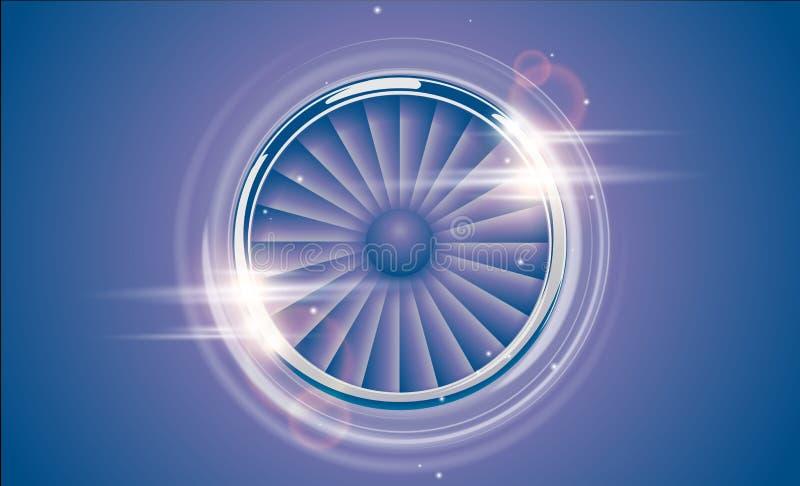 Jet Engine Turbine kromcirkel i retro stil för violetblåttfärg med ljus effekt för linssignalljus Detaljerad flygplanmotor Front  stock illustrationer