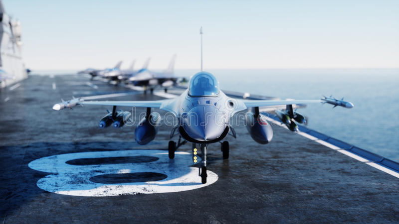 Jet f16, fighter on aircraft carrier in sea, ocean . War and weapon concept. 3d rendering. Jet f16, fighter on aircraft carrier in sea, ocean . War and weapon royalty free illustration