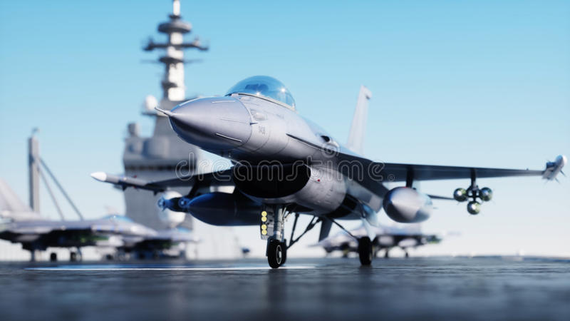 Jet f16, fighter on aircraft carrier in sea, ocean . War and weapon concept. 3d rendering. Jet f16, fighter on aircraft carrier in sea, ocean . War and weapon vector illustration