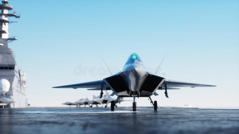 Jet f22, fighter on aircraft carrier in sea, ocean . War and weapon concept. 3d rendering. Jet f22, fighter on aircraft carrier in sea, ocean . War and weapon royalty free illustration