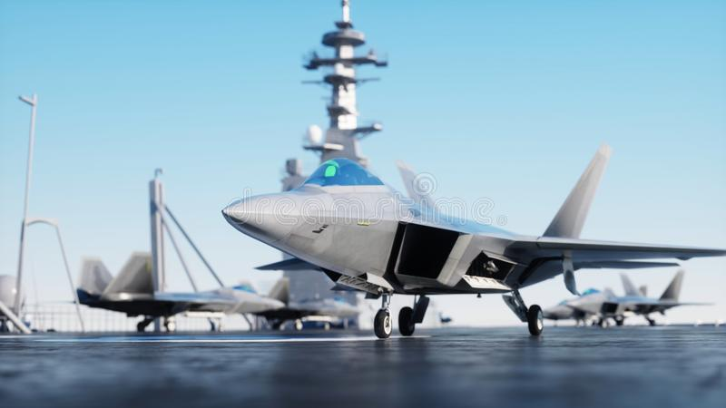 Jet f22, fighter on aircraft carrier in sea, ocean . War and weapon concept. 3d rendering. Jet f22, fighter on aircraft carrier in sea, ocean . War and weapon vector illustration