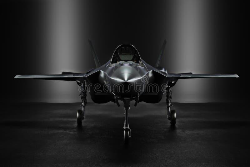 Jet F35 secret avancé dans un lieu confidentiel avec l'éclairage de silhouette illustration de vecteur