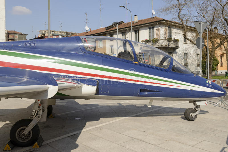 Jet fighter on display in city center, Milan, Italy stock photo