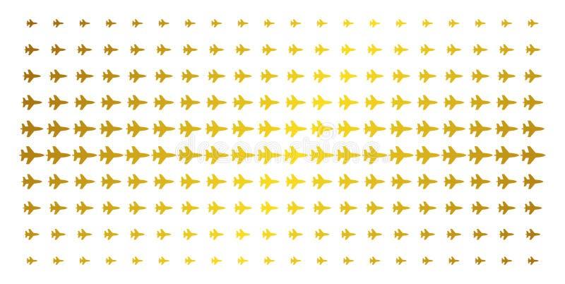 Jet Fighter Golden Halftone Grid stock abbildung