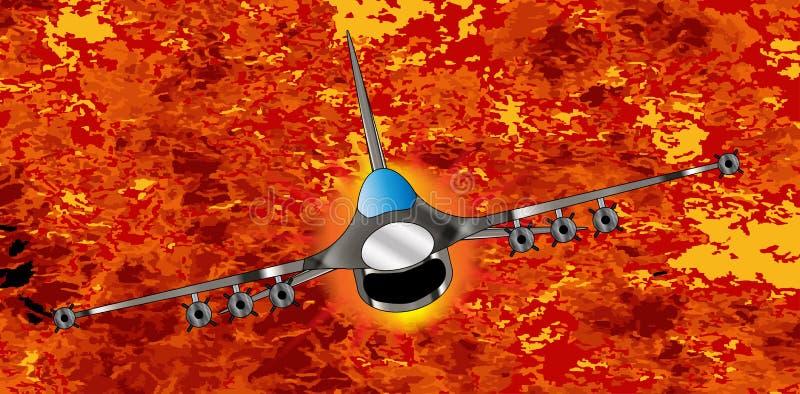 Jet Fighter Leaving The Aftermath stock illustrationer